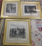 3 large gilt framed Meissonier prints all pencil signed inc Jules Jacquet