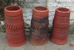 3 terracotta chimney pots