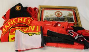 Manchester United jacket, dressing gown, hat and scarf, towel, flag and European Cup winners semi