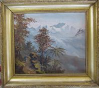 Gilt framed oil on canvas possibly signed MG of a mountainous / plantation landscape 52 cm x 46