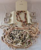 Quantity of coloured pearl necklaces and earrings inc Honora