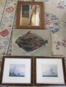 Carved bevel edged mirror, pair of prints & a fish picture