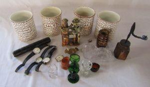 Various ceramics and glassware inc Cobble Stone Maling storage jars (missing lids), 'Stiff' London