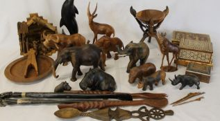 Selection of Continental wooden animals, shoe horns, nativity scene, nutcrackers, boxes etc.
