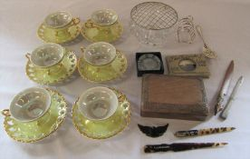Lustre teacups and saucers, wooden box, silver plate, cut glass rose bowl etc
