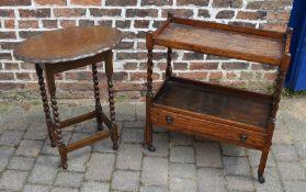Oak trolley & an occasional table on barley twist legs