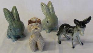 2 Sylvac rabbits, poodle & Coopercraft donkey