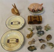Sleeping pig ornament, Hungarian rabbit, 2 Player's ashtrays, Wade chest & selection of Whimsies