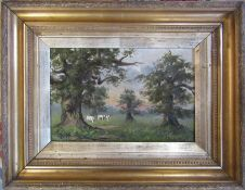 Gilt framed oil on canvas of cattle in a field by William Wright (damage to canvas) 54 cm x 42 cm (