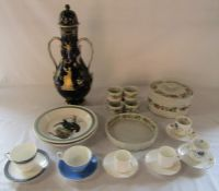 Various ceramics in large lidded vase (af), tableware and coffee cups and saucers etc