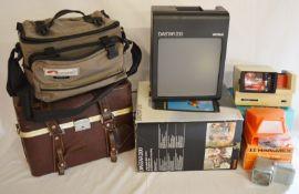 Diastar 200 slide viewer, 3 other slide/film viewers & 2 camera cases