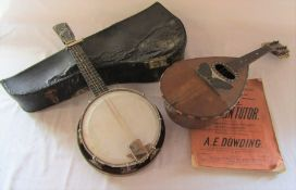 Mandolin (label - Stridente Napoli) and a 'The Whirle' banjolali (both af)