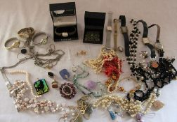 Various costume jewellery and watches
