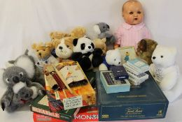 Large vintage doll, woodwool filled mohair dog, Monopoly, Trivial Pursuit & Scrabble, selection of