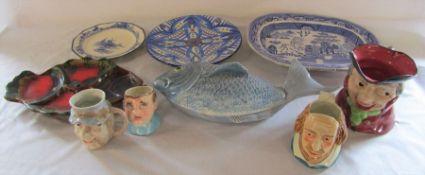 Various ceramics inc blue and white, fish dish and character jugs inc Royal Doulton