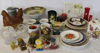 Ceramic chicken, collectors plates, Pudsey mugs, teddy figures etc.