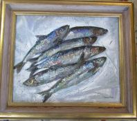 Framed and glazed oil on canvas painting of fish by Valerie Fraser 77 cm x 67 cm (size including