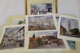 4 David Cuppleditch limited edition signed prints of Louth & 5 signed Sturgeon prints (1 framed)
