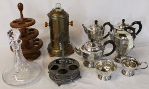 Ship's decanter, wooden egg stand, coffee maker, silver plated tea service, cruet stand and Ikea