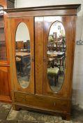 Edwardian double wardrobe Ht 201cm W 131cm D 51cm