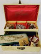 Box of costume jewellery including Coronation crown brooch