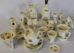 Quantity of Aynsley Edwardian Kitchen Garden bone china (wheelbarrow handle missing)