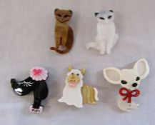 5 brand new Lea Stein style dogs and cat brooches