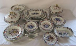 Early 19th century Spode New Stone Imari 3504 part dinner service inc meat plates and tureens