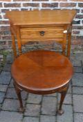Oak side table & a circular coffee table