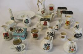 Selection of crested china including 2 with silver rims