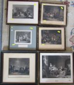 6 framed engravings inc Marriage a la mode, The Rent Day and The Village Recruit and The village