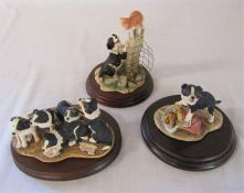 3 Border Fine Arts Collie dogs figurines - Trouble ahead JH74, High Jinks RR03 and Collie pups for