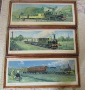 3 framed vintage railway carriage prints by C Hamilton Ellis 'Travel in 1880, 1895 and 1905' 66 cm x