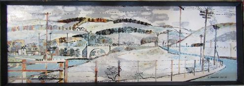 Acrylic oil on board of a snowy Scottish landscape by R Demarco (b.1930) signed and dated January