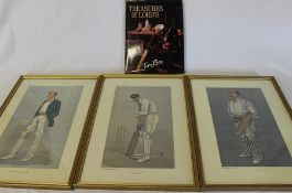 "3 framed Vanity Fair cricket prints including Spy (reprints) & ""Treasures of Lords"" by Tim Rice"
