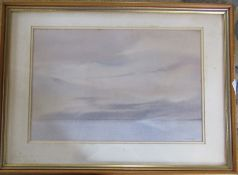 Framed watercolour by Bill Wright 'Towards Islay - nightfall' 46 cm x 34 cm (size including frame)