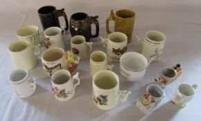 15 whistle cups / mugs and 3 egg cup whistles