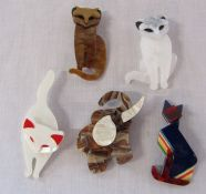 5 brand new Lea Stein style animal brooches inc cats and elephant