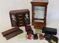Modern jewellery box, display case & selection of small jewellery boxes