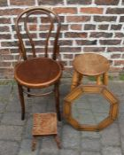 Bentwood chair, octagonal wall mirror, stool and foot stool