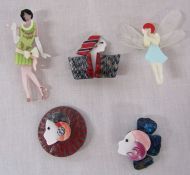 5 brand new Lea Stein style brooches inc fairy and Art Deco ladies