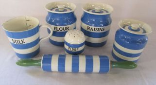 Various T G Green kitchenalia inc large Raisins and Flour lidded pots, milk jug and rolling pin