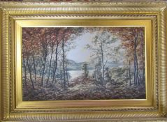 Large gilt framed oil on canvas 'Golden Autumn' by T Sturrock dated to rear 6 June 1913 106 cm x