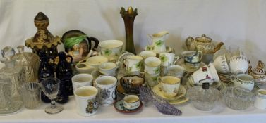 Selection of crockery, Carnival Glass vase etc. (2 boxes)