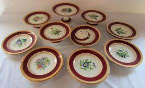 Victorian floral dessert set consisting of 5 comports and 10 plates (af)