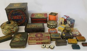 "Selection of vintage tins including Cadbury ""Girl with an Apple"" & Will's Woodbine dominoes"