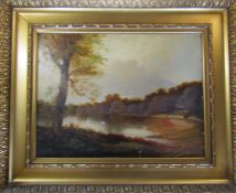 Victorian gilt framed oil on board of swans on a lake by A F Cook 1875 68.5 cm x 56 cm (size