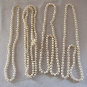 4 pearl necklaces one with 9ct gold clasp