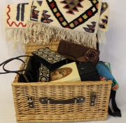 Wicker picnic basket containing evening bags, scarves, handkerchiefs, gents sunglasses, miniature