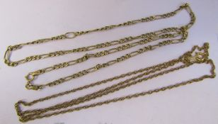 9ct gold figaro necklace L 51 cm weight 3.9 g & a 9ct gold necklace L 56 cm weight 3.4 g